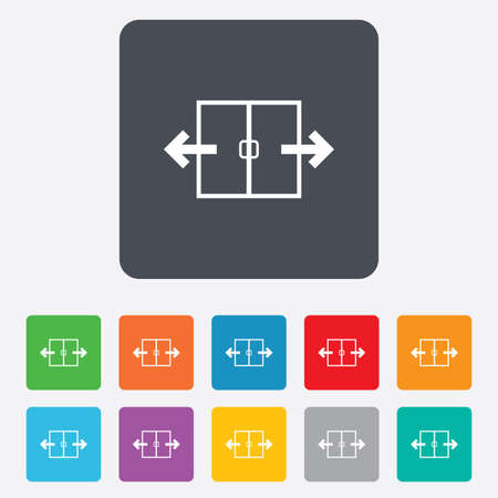 automatic doors: Automatic door sign icon. Auto open symbol. Rounded squares 11 buttons.  Illustration