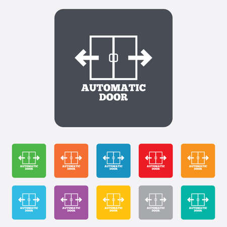 automatic doors: Automatic door sign icon. Auto open symbol. Rounded squares 11 buttons.