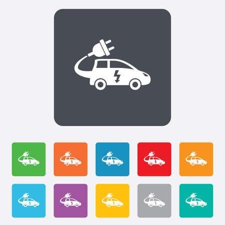 electric vehicle: Auto elettrica icona segno. Simbolo Hatchback. Trasporto del veicolo elettrico. Piazze arrotondati 11 pulsanti.