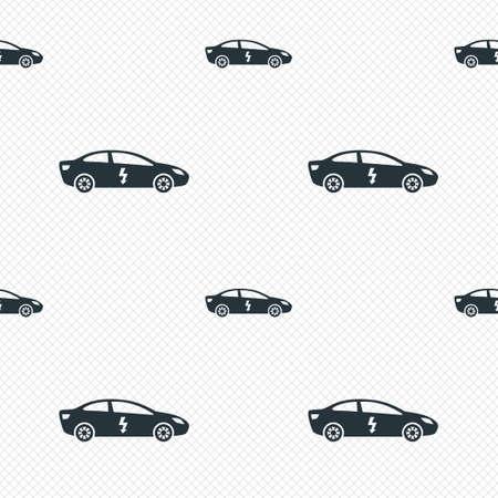 electric vehicle: Elettrico icona segno dell'automobile. Sedan simbolo salone. Trasporto di veicoli elettrici. Linee di griglia senza soluzione di tessitura. Celle ripetere modello. Texture di sfondo bianco. Vettore