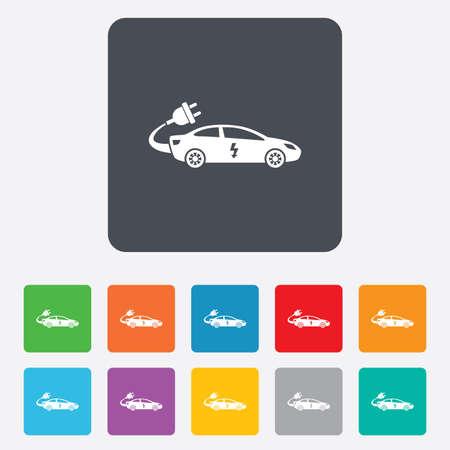 electric vehicle: Elettrico icona segno dell'automobile. Sedan simbolo saloon. Trasporto di veicoli elettrici. Piazze arrotondati 11 pulsanti. Vettore