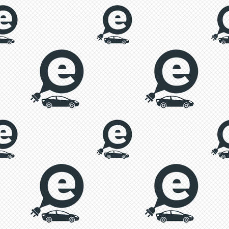 electric grid: Electric car sign icon. Sedan saloon symbol. Electric vehicle transport. Seamless grid lines texture. Cells repeating pattern. White texture background. Vector