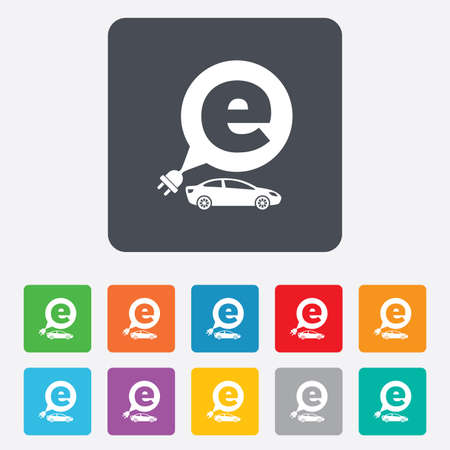 electric vehicle: Auto elettrica icona segno. Sedan simbolo berlina. Trasporto del veicolo elettrico. Piazze arrotondati 11 pulsanti. Vettore