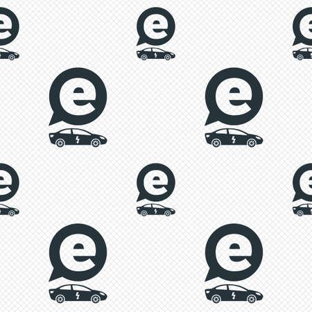 electric vehicle: Elettrico icona segno dell'automobile. Sedan simbolo saloon. Trasporto di veicoli elettrici. Linee di griglia senza soluzione di tessitura. Celle pattern ripetuto. Texture di sfondo bianco. Vettore Vettoriali