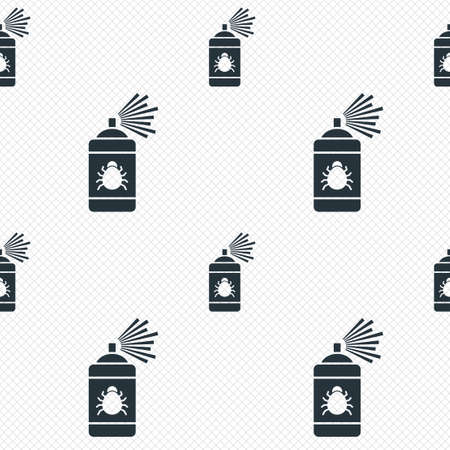 acarus: Bug disinfection sign icon. Fumigation symbol. Bug sprayer. Seamless grid lines texture. Cells repeating pattern. White texture background. Vector