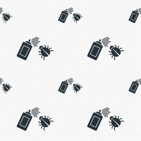 fumigation: Bug disinfection sign icon. Fumigation symbol. Bug sprayer. Seamless grid lines texture. Cells repeating pattern. White texture background. Vector