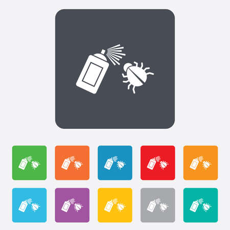 fumigation: Bug disinfection sign icon. Fumigation symbol. Bug sprayer. Rounded squares 11 buttons. Vector