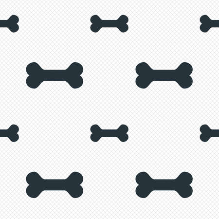 Dog bone sign icon. Pets food symbol. Seamless grid lines texture. Cells repeating pattern. White texture background. Vector Vector