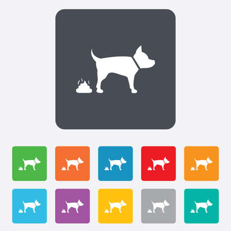 faeces: Feces sign icon. Clean up after pets symbol. Put it in the bag. Rounded squares 11 buttons. Vector Illustration
