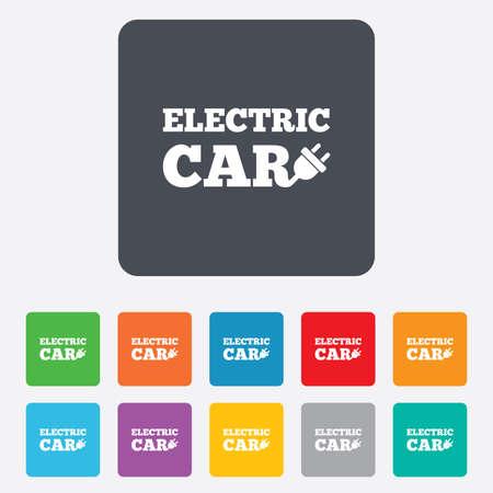 electric vehicle: Elettrico icona segno dell'automobile. Elettrico simbolo trasporto veicolo. Piazze arrotondati 11 pulsanti. Vettore