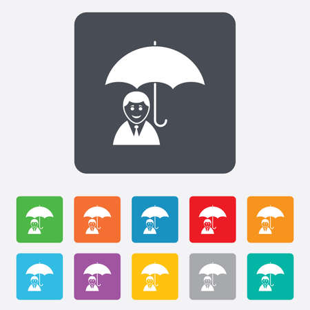Human insurance sign icon. Man Person symbol. Rounded squares 11 buttons. Vector Vector