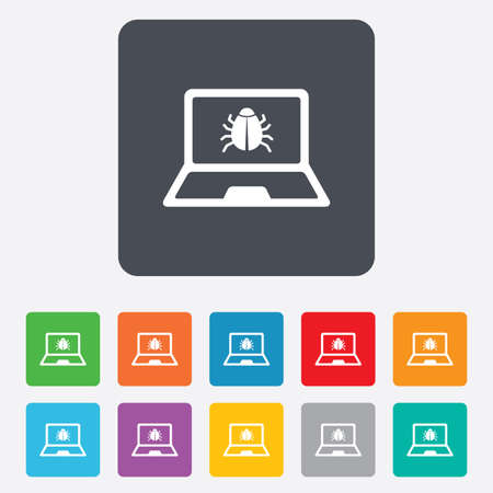 ultrabook: Laptop virus sign icon. Notebook software bug symbol. Rounded squares 11 buttons.  Illustration