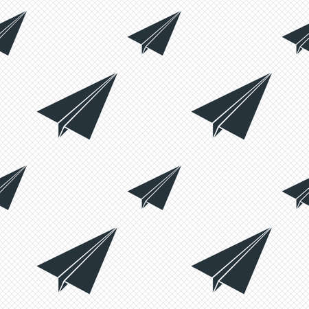 grid paper: Paper Plane sign. Airplane symbol. Travel icon. Flight flat label. Seamless grid lines texture. Cells repeating pattern. White texture background.
