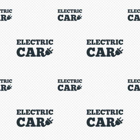 electric grid: Electric car sign icon. Electric vehicle transport symbol. Seamless grid lines texture. Cells repeating pattern. White texture background.