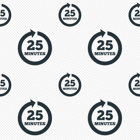 Every 25 minutes sign icon. Full rotation arrow symbol. Seamless grid lines texture. Cells repeating pattern. White texture background.  Vector
