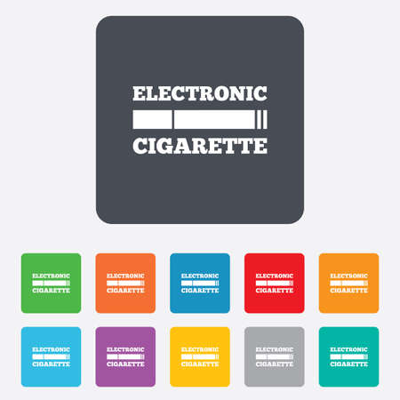 Smoking sign icon. E-Cigarette symbol. Electronic cigarette. Rounded squares 11 buttons.  Vector