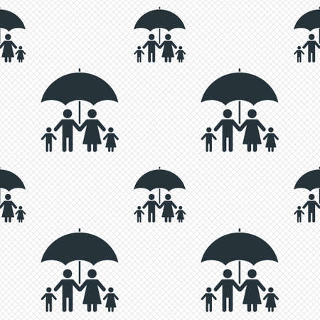 Complete family insurance sign icon. Umbrella symbol. Seamless grid lines texture. Cells repeating pattern. White texture background.