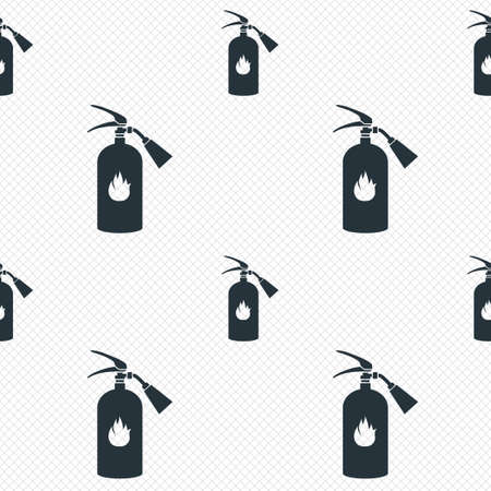 Fire extinguisher sign icon. Fire safety symbol. Seamless grid lines texture. Cells repeating pattern. White texture background.  Vector