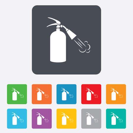 fire extinguisher sign: Extintor signo icono. S�mbolo de seguridad contra incendios. Cuadrados redondeados 11 botones.