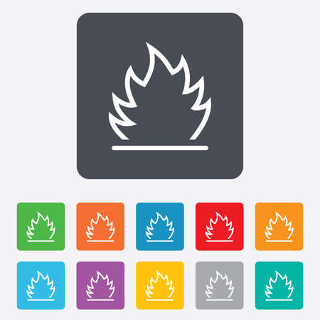 Fire flame sign icon. Heat symbol. Stop fire. Escape from fire. Rounded squares 11 buttons.  Vector