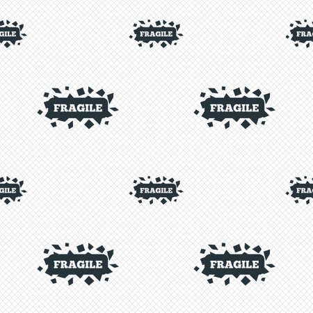 brittle: Fragile parcel sign icon. Delicate package delivery symbol. Seamless grid lines texture. Cells repeating pattern. White texture background.