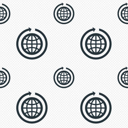 globe grid: Globe sign icon. Round the world arrow symbol. Full rotation. Seamless grid lines texture. Cells repeating pattern. White texture background.