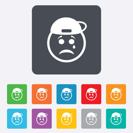Sad rapper face with tear sign icon. Crying chat symbol. Rounded squares 11 buttons.  Vector