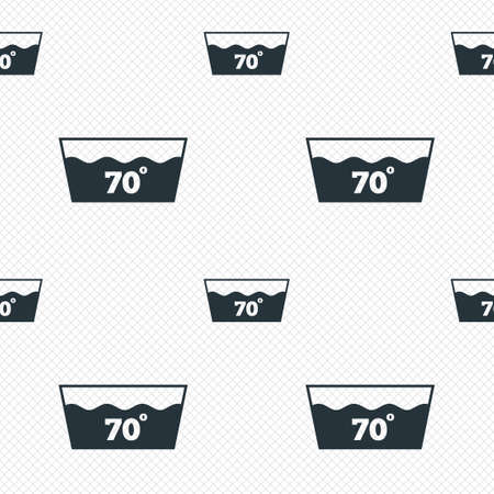 washbowl: Wash icon. Machine washable at 70 degrees symbol. Seamless grid lines texture. Cells repeating pattern. White texture background.