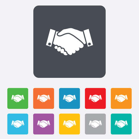 hand colored: Handshake sign icon. Successful business symbol. Rounded squares 11 buttons.