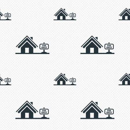house for sale: Home sign icon. House for sale. Broker symbol. Seamless grid lines texture. Cells repeating pattern. White texture background.