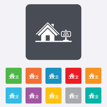 Home sign icon. House for sale. Broker symbol. Rounded squares 11 buttons.  Vector