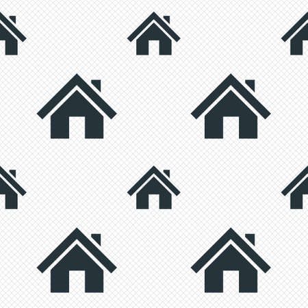 Home sign icon. Main page button. Navigation symbol. Seamless grid lines texture. Cells repeating pattern. White texture background.  Vector