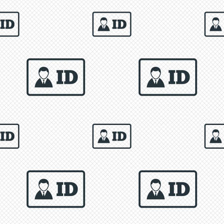 ID card sign icon. Identity card badge symbol. Seamless grid lines texture. Cells repeating pattern. White texture background.  Vector