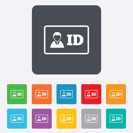 ID card sign icon. Identity card badge symbol. Rounded squares 11 buttons. Vector