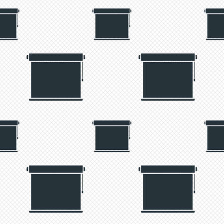 roll curtains: Louvers rolls sign icon. Window blinds or jalousie symbol. Seamless grid lines texture. Cells repeating pattern. White texture background. Illustration