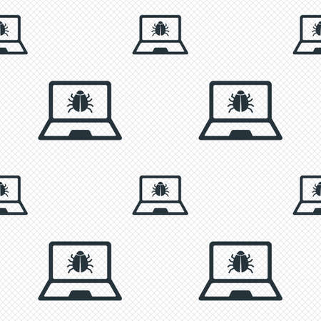 ultrabook: Laptop virus sign icon. Notebook software bug symbol. Seamless grid lines texture. Cells repeating pattern. White texture background.