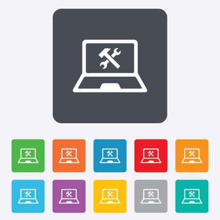 laptop repair: Laptop icono de signo de reparaci�n. Notebook s�mbolo servicio soluci�n. Cuadrados redondeados 11 botones.