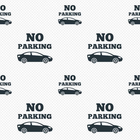 No parking sign icon. Private territory symbol. Seamless grid lines texture. Cells repeating pattern. White texture background.  Vector