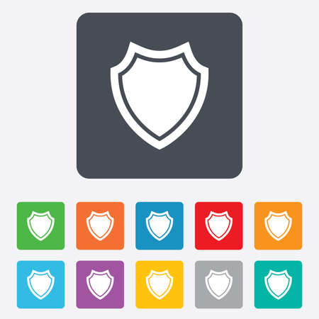 security token: Shield sign icon. Protection symbol. Rounded squares 11 buttons.  Illustration