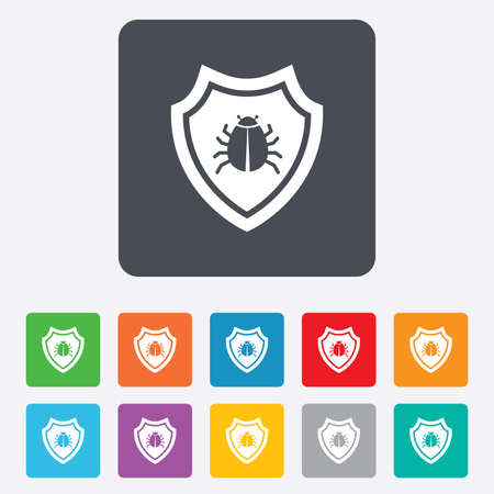 Shield sign icon. Virus protection symbol. Bug symbol. Rounded squares 11 buttons.  Vector