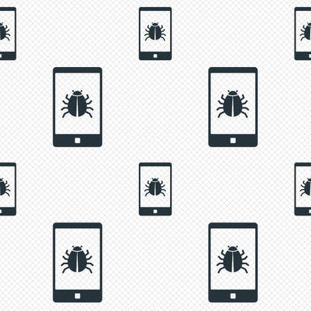 Smartphone virus sign icon. Software bug symbol. Seamless grid lines texture. Cells repeating pattern. White texture background.  Vector