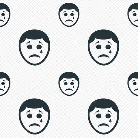 Sad face with tear sign icon. Crying chat symbol. Seamless grid lines texture. Cells repeating pattern. White texture background.