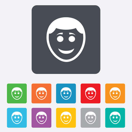 green face: Smile face sign icon. Happy smiley with hairstyle chat symbol. Rounded squares 11 buttons.  Illustration