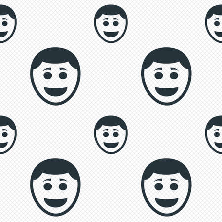 brows: Smile face sign icon. Happy smiley with hairstyle chat symbol. Seamless grid lines texture. Cells repeating pattern. White texture background.