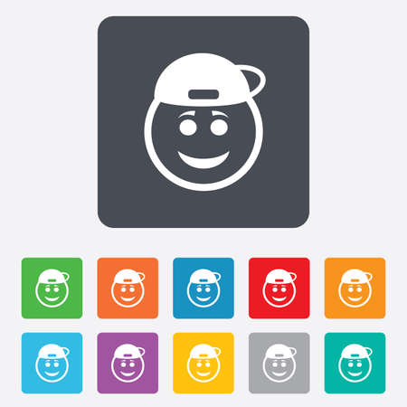 Smile rapper face sign icon. Happy smiley with hairstyle chat symbol. Rounded squares 11 buttons.  Vector