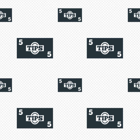 grid paper: Tips sign icon. Cash money symbol. Paper money. Seamless grid lines texture. Cells repeating pattern. White texture background.