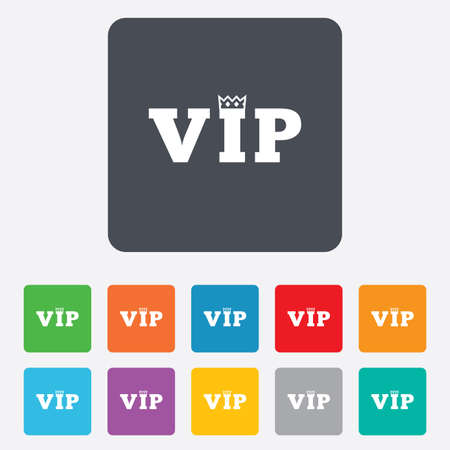 very important person: Vip sign icon. Membership symbol. Very important person. Rounded squares 11 buttons. Illustration