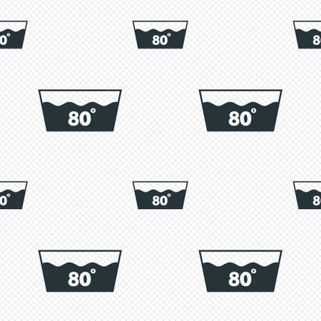 washbowl: Wash icon. Machine washable at 80 degrees symbol. Seamless grid lines texture. Cells repeating pattern. White texture background. Illustration
