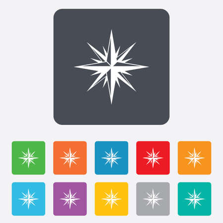 Compass sign icon. Windrose navigation symbol. Rounded squares 11 buttons.  Vector