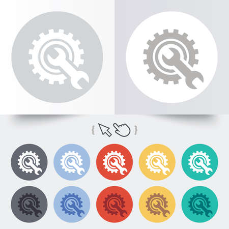 Repair tool sign icon. Service symbol. Hammer with wrench. Round 12 circle buttons. Shadow. Hand cursor pointer. Vector Vector